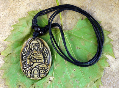 New Items,Buddha,Under 35 Dollars,Men's Jewelry Default Hand Carved Yak Bone Buddha Necklace jn033