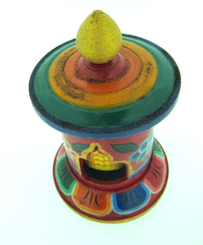 New Items,Ritual Items Default Small Desktop Wooden Prayer Wheel rp018