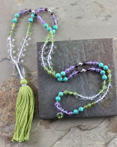 New Items,Tibetan Style Default Peridot Amethyst Garnet and Turquoise mala maha004