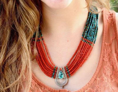 One of a Kind,Jewelry,New Items Default Masterpiece Tibetan Coral and Turquoise Necklace jn057