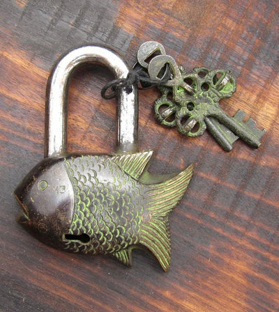 One of a Kind,Tibetan Style Default Fish  Lock on003B