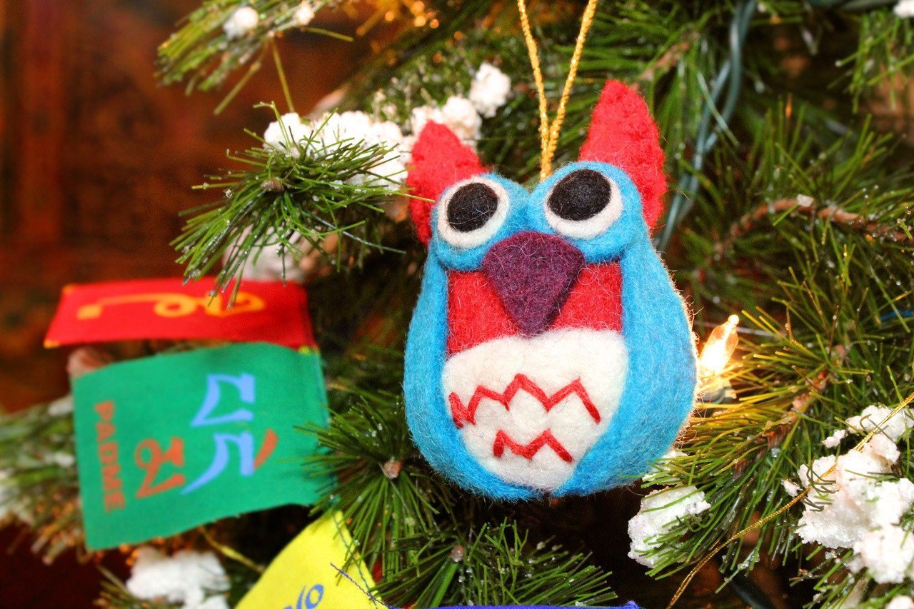 Ornaments Default Fair Trade Blue Owl Ornament HO030