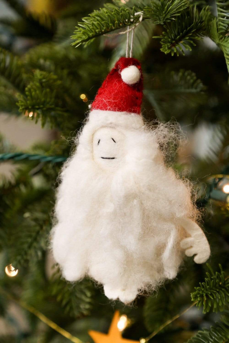 Ornaments Default Felt Yeti Ornament with Santa Hat ho005