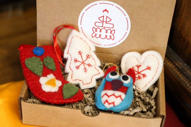 Ornaments Default Gift Set of 4 Fair Trade Wool Ornaments Ho031