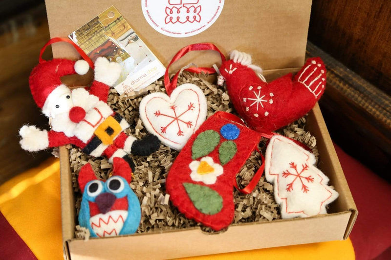 Ornaments Default Gift Set of 6 Fair Trade Wool Ornaments Ho032