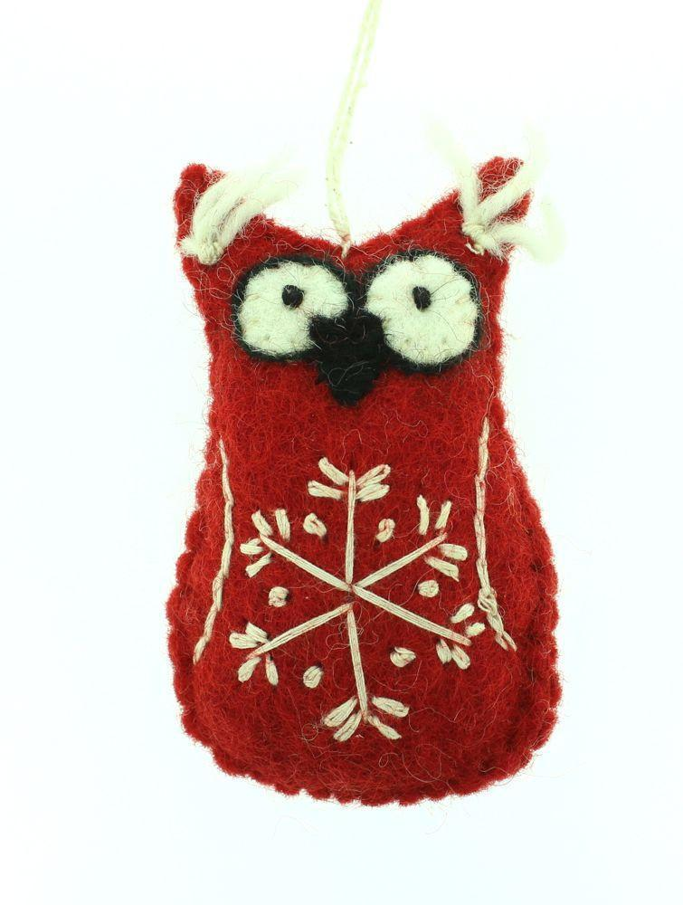 Ornaments Default Red Owl Ornament ho002