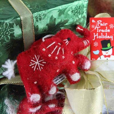 Ornaments Default Wool Felted Red Elephant Ornament HO007