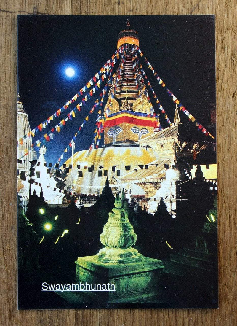 Paper Goods Default Swayambhunath Stupa at Night Postcard pc004