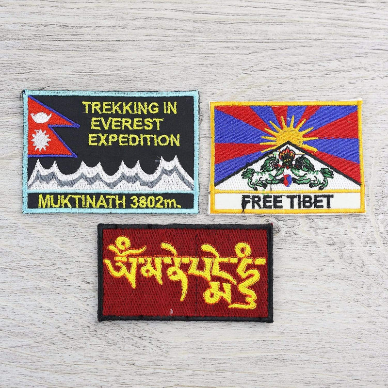 Patches Default Set of Three Tibet Everest Nepal Patches ft017