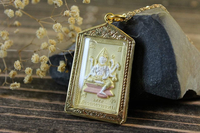 Pendants 2 Inch Encased Ganesh and Thai Deity Amulet jpthai80