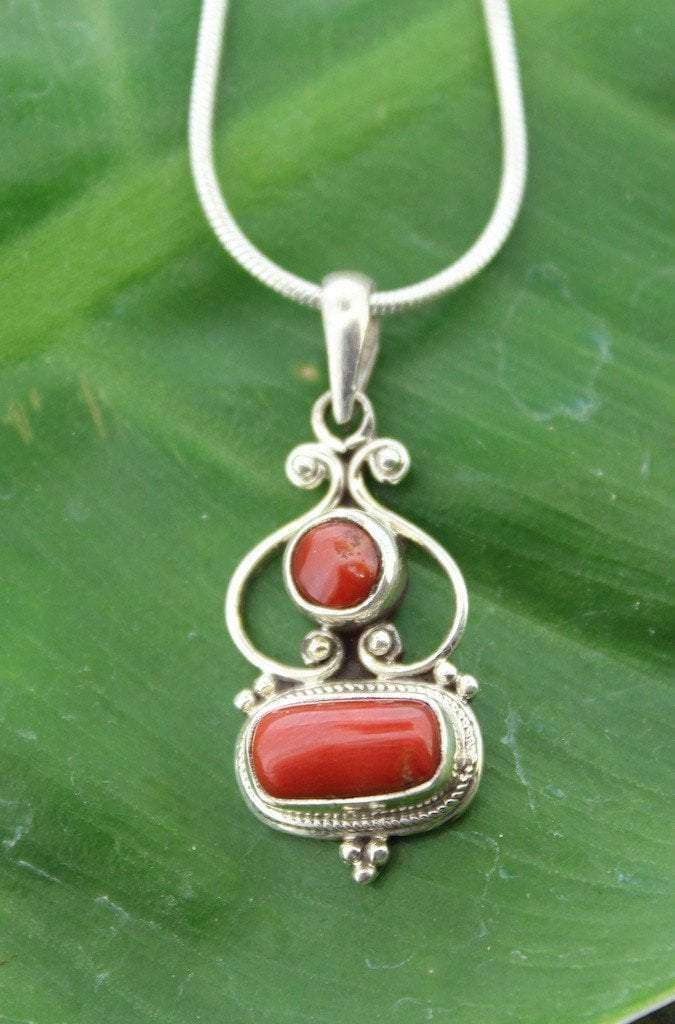 Pendants Default Absolutely Perfect Vintage Tibetan Coral and Silver Pendant jp331