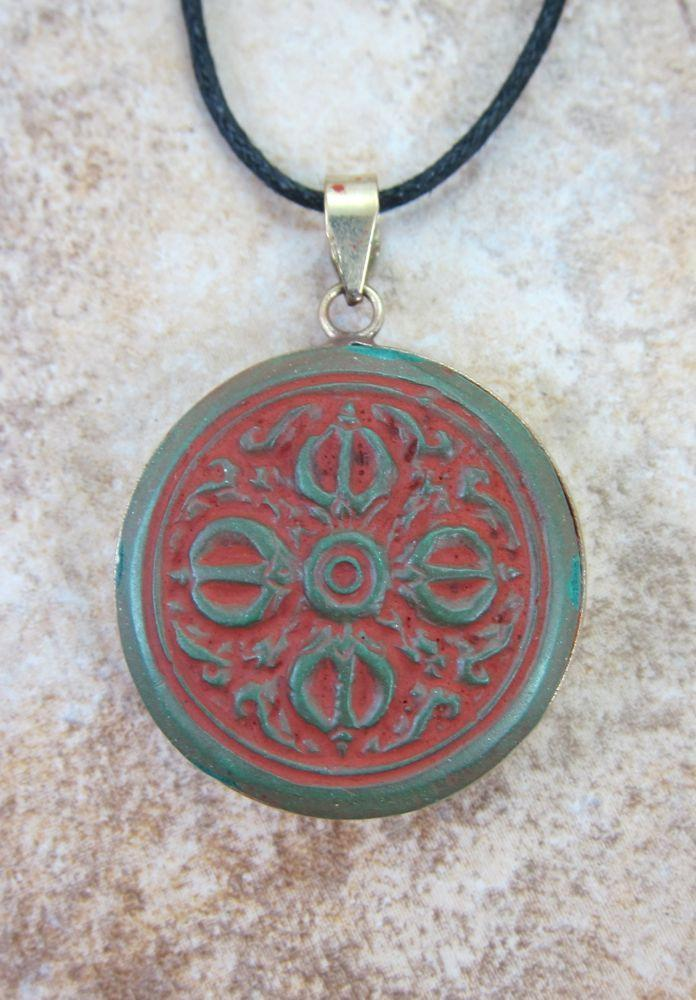 Pendants Default Antiqued Brass Dorje Pendant jp177