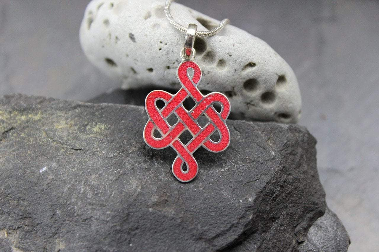 Pendants Default Eternal Knot Coral and Sterling Silver Pendant jp420