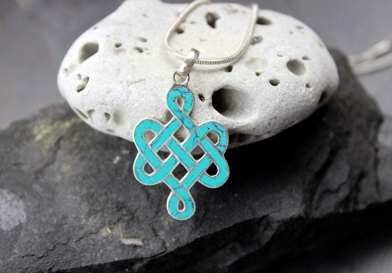 Pendants Default Eternal Knot Turquoise and Sterling Silver Pendant jp374