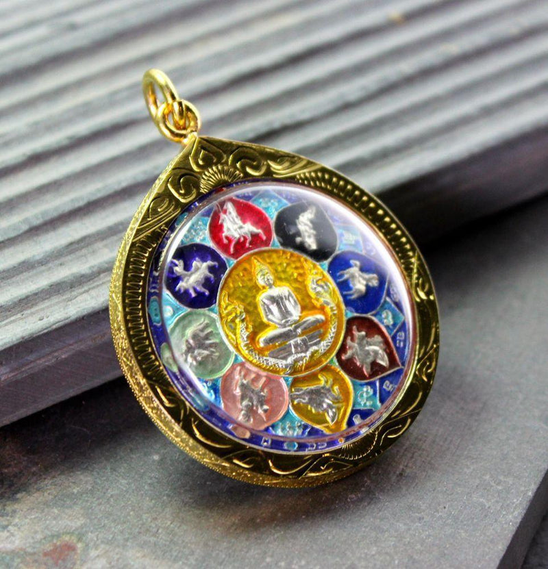 Pendants Large Colorful Thai Gold Buddha Amulet jpthai36