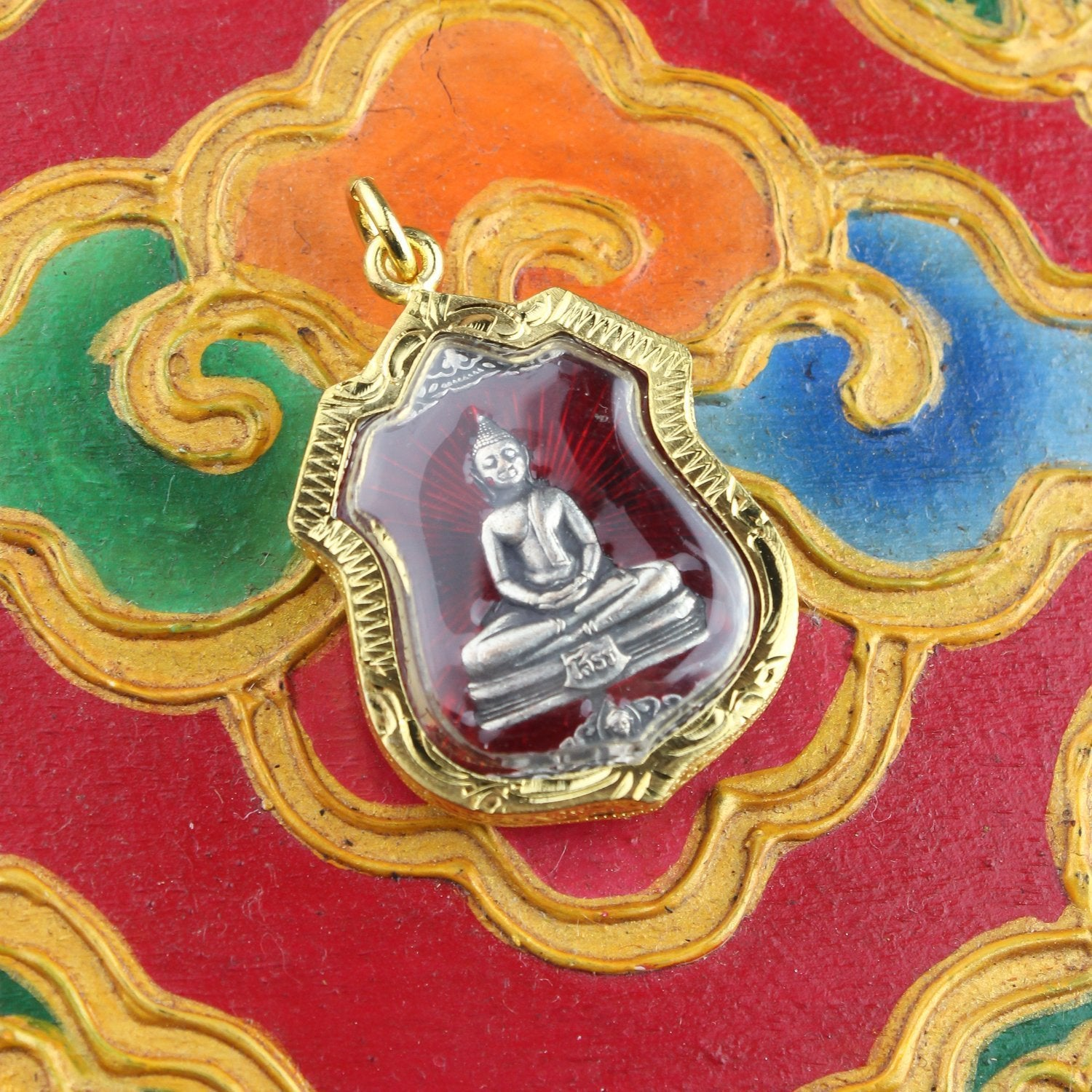 Pendants red Color Encased Thai Buddha (Choose Color) jpthai48-red