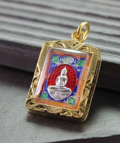 Pendants Red Thai Buddha in Gold Case Amulet jpthai39