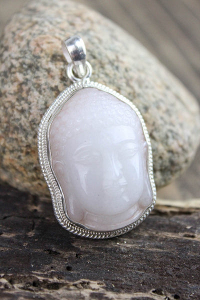 Pendants Snow Quartz Buddha Pendant of Good Fortune JPBUDDHA32