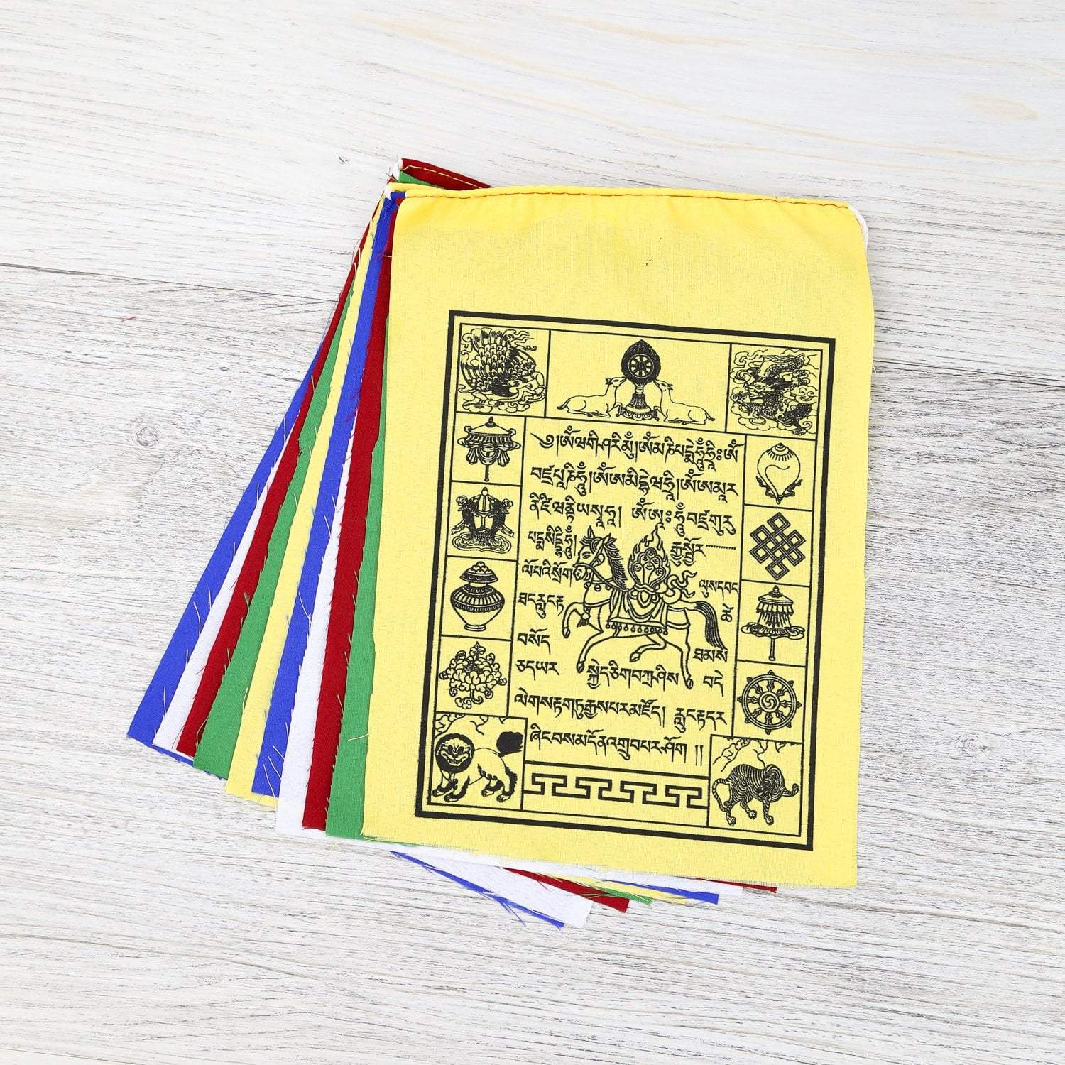 Prayer Flags Default Windhorse Traditional Prayer flag with Auspicious Symbols pf099