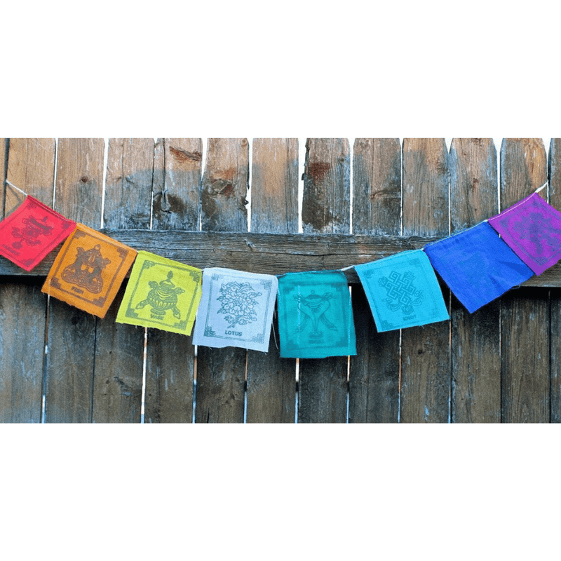 Prayer Flags,Sale,Tibetan Style,Under 35 Dollars Default Small 8 Auspicious Symbols Prayer Flags pf056
