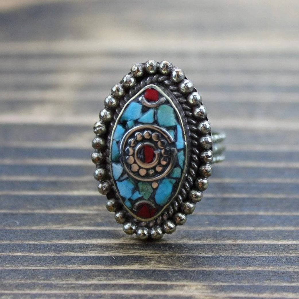 Rings 5 Adjustable Tibetan Coral and Turquoise Ring 2 jr139.05