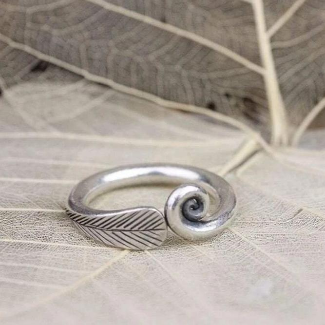 Rings 5 Feather Spiral Silver Ring JR215.05