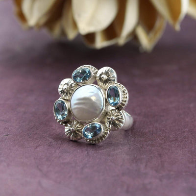 Rings 5 Topaz and Pearl Ring JR242.05