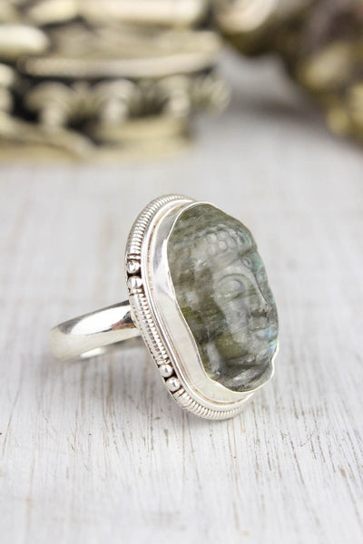 Rings 6 Protection and Balance Labradorite Buddha Ring JR225.06