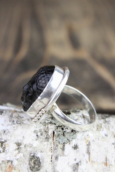 Rings 7 Black Onyx Buddha Intuition Ring JR224.07