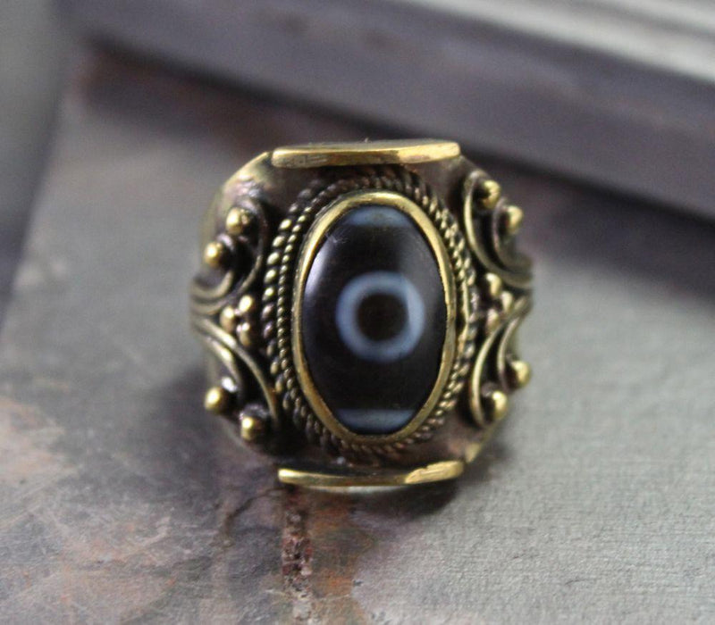 Rings 7 Vintage-style Brass Dzi Bead Ring jr063007