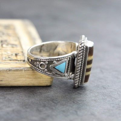 Rings 8.5 Agate Dzi Ring with Turquoise Accents JR235.85