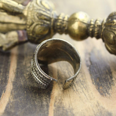 Rings Adjustable Mantra Shield Ring JR239