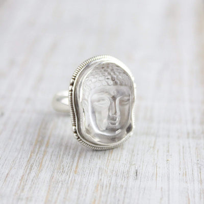 Rings Clear Quartz Buddha Energy Ring JR249
