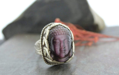 Rings Default One of a Kind Amethyst Buddha Ring jr029