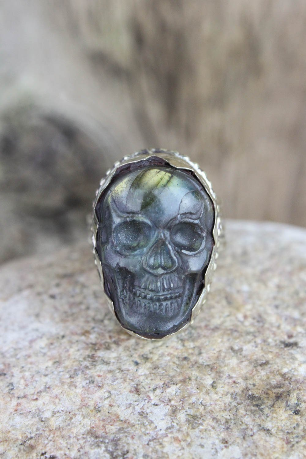 Rings Labradorite Skull Ring JR226