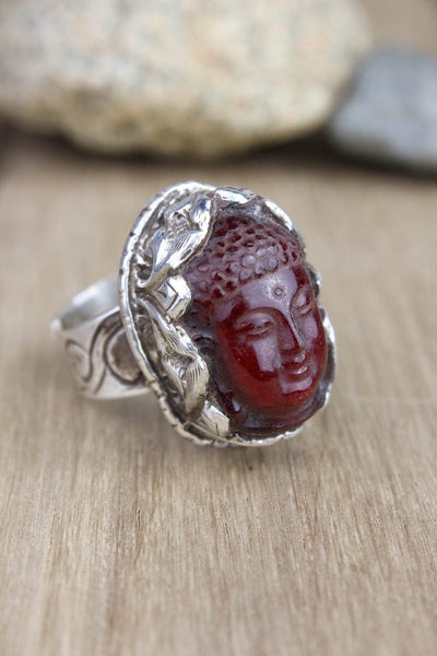 Rings Revitalizing Garnet Adjustable Buddha Ring JR223