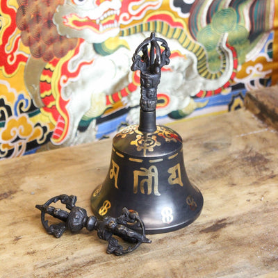 Ritual Items Black Om Mani Bell and Dorje RB009