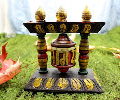 Ritual Items Default Painted Temple Prayer Wheel rp007