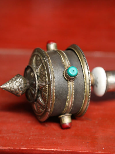 Ritual Items Large Antiqued Handheld Prayer Wheel RP032