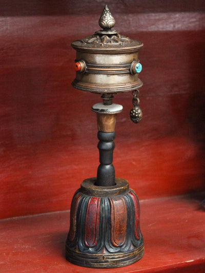 Ritual Items Large Handheld Prayer Wheel with Wooden Stand RP030