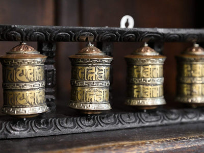 Ritual Items Set of 5 Prayer Wheels with Wooden Frame RP031