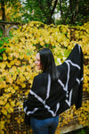 Scarves Black/White Shawl fb544