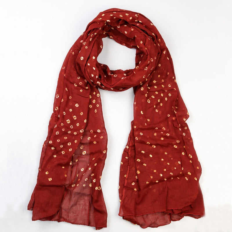 Scarves Bold Red Cotton Batik Scarf FB537