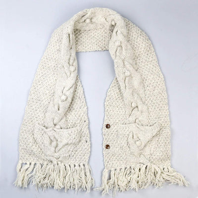 Scarves Cream Wool Pocket Shawl FB535