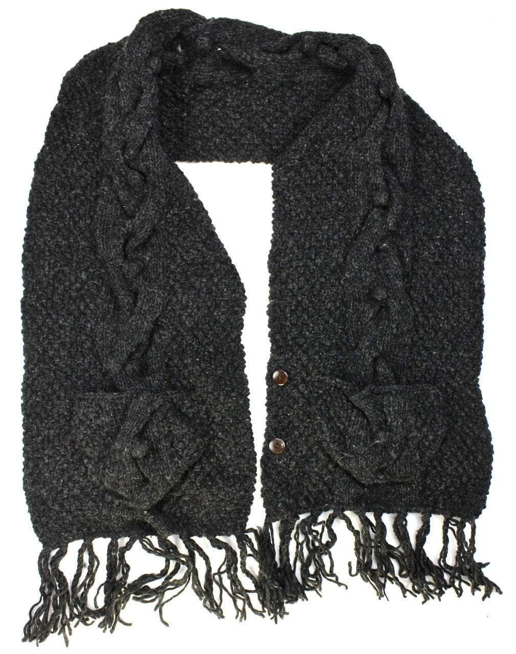 Scarves Default Black Wool Pocket Shawl wo119
