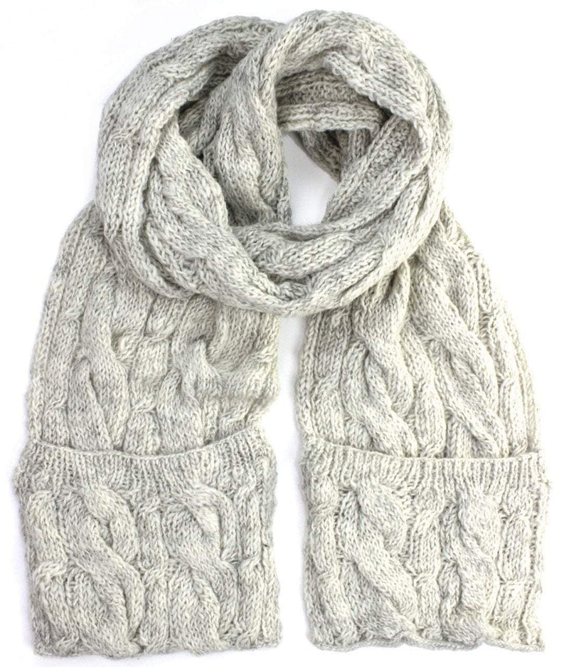 Scarves Default Cream Wool Pocket Scarf wo118
