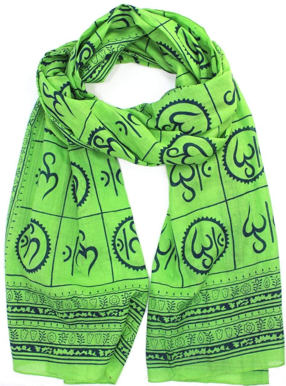 scarves Default New Om Prayer Scarf in Himalayan Grass Green scarf002