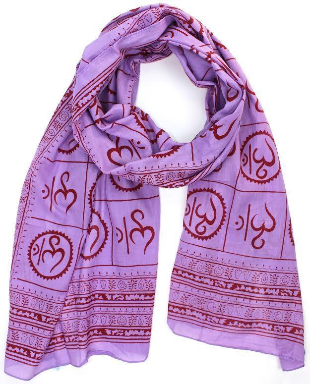 Scarves Default New Om Prayer Scarf in Purple scarf003