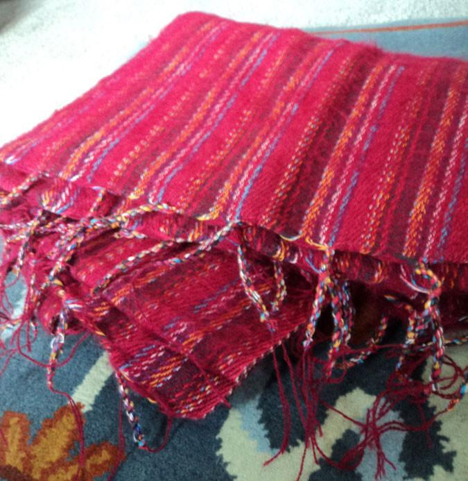 Scarves Default Red Stripe Yak Wool Shawl fb162
