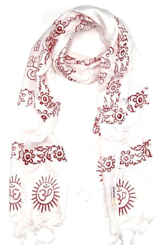 Scarves Default Small Om Prayer Scarf in White fb156